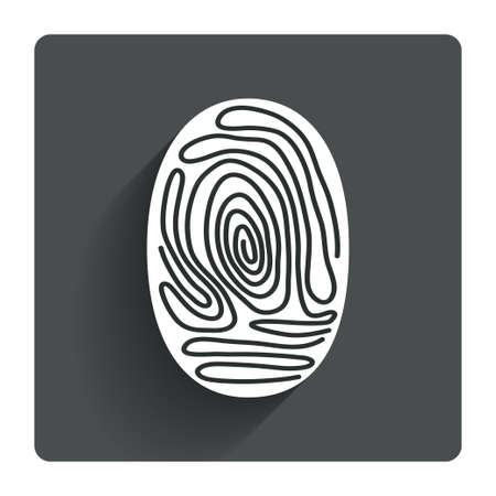 fingermark: Fingerprint sign icon. Identification or authentication symbol. Gray flat square button with shadow. Modern UI website navigation. Vector