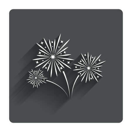 fireworks show: Fireworks sign icon. Explosive pyrotechnic show symbol. Gray flat square button with shadow. Modern UI website navigation. Vector Illustration