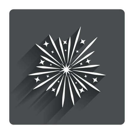 pyrotechnic: Fireworks sign icon. Explosive pyrotechnic show symbol. Gray flat square button with shadow. Modern UI website navigation. Vector Illustration