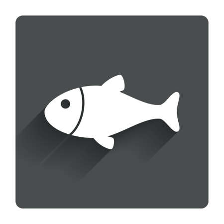 flipper: Fish sign icon. Fishing symbol. Gray flat square button with shadow. Modern UI website navigation. Vector Illustration