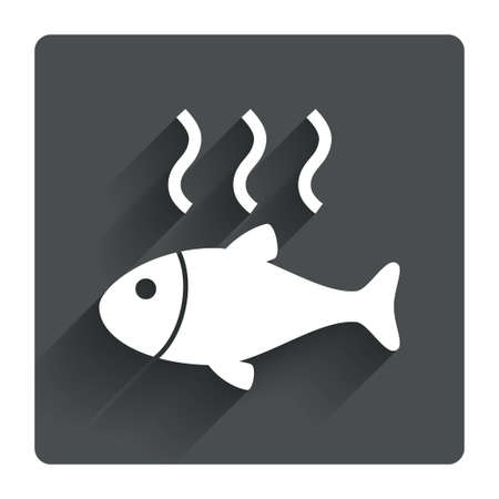 fry: Fish hot sign icon. Cook or fry fish symbol. Gray flat square button with shadow. Modern UI website navigation. Vector