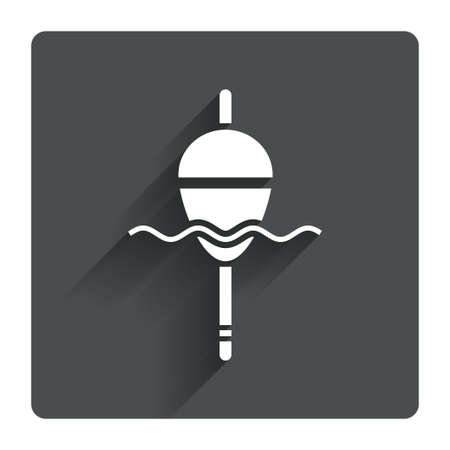fishing bobber: Fishing sign icon. Float bobber symbol. Fishing tackle. Gray flat square button with shadow. Modern UI website navigation. Vector Illustration