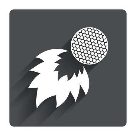 fireball: Golf fireball sign icon. Sport symbol. Gray flat square button with shadow. Modern UI website navigation. Vector Illustration
