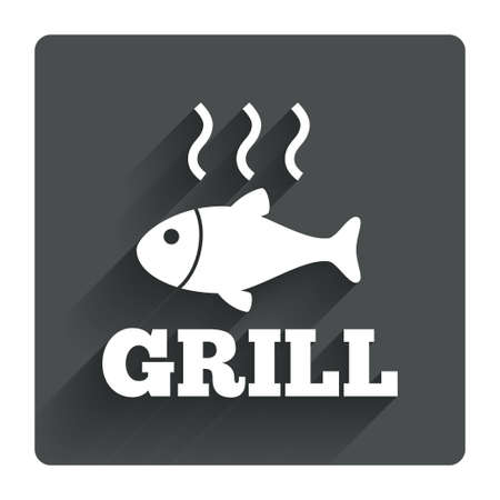 Fish grill hot sign icon. Cook or fry fish symbol. Gray flat square button with shadow. Modern UI website navigation. Vector Vector