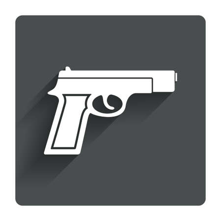 firearms: Gun sign icon. Firearms weapon symbol. Gray flat square button with shadow. Modern UI website navigation. Vector