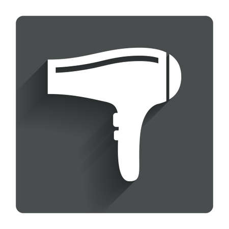 blow drying: Hairdryer sign icon. Hair drying symbol. Gray flat square button with shadow. Modern UI website navigation. Vector