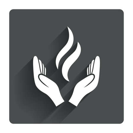 black hands: Energy hands sign icon. Power from hands symbol. Gray flat square button with shadow. Modern UI website navigation. Vector Illustration