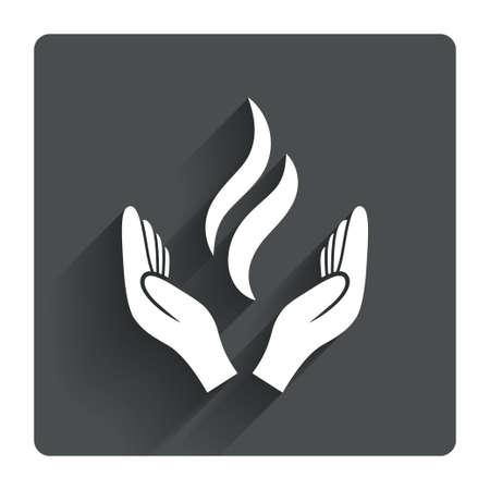 manos abiertas: Manos Energía firman icono. Potencia del símbolo de las manos. Gris botón cuadrado plano con la sombra. Modern sitio web de la interfaz de usuario de navegación. Vector