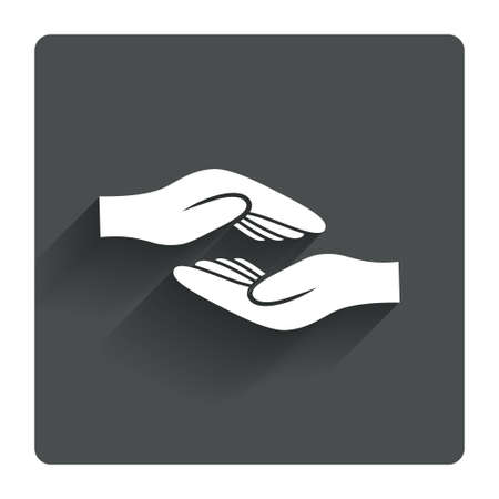 endowment: Helping hands sign icon. Charity or endowment symbol. Human palm. Gray flat square button with shadow. Modern UI website navigation. Vector