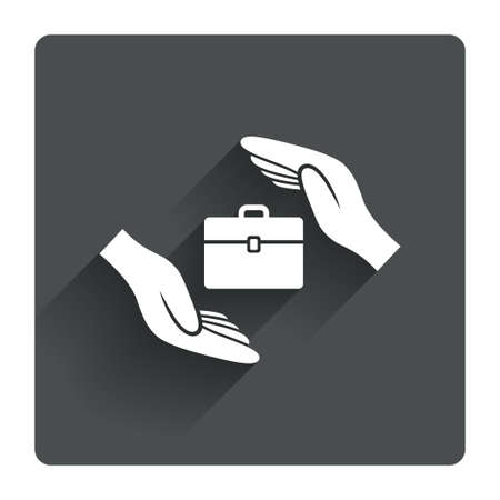 paper case: Baggage insurance sign icon. Travel luggage symbol. Travel insurance. Gray flat square button with shadow. Modern UI website navigation. Vector Illustration