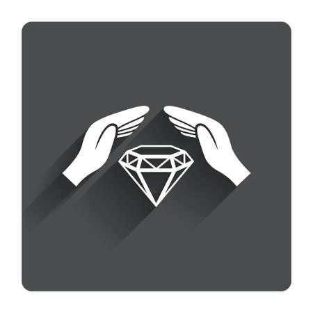 Jewelry insurance sign icon. Hands protect cover diamonds symbol. Brilliants insurance. Gray flat square button with shadow. Modern UI website navigation. Vector Vector