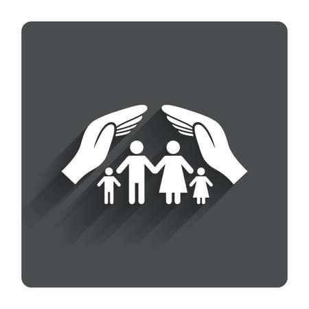 가족 생명 보험 기호 아이콘입니다. 손에 인간의 그룹 기호를 보호합니다. 건강 보험. 그림자와 함께 회색 평면 사각형 단추입니다. 현대 UI 웹 사이트