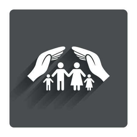life insurance: Family life insurance sign icon. Hands protect human group symbol. Health insurance. Gray flat square button with shadow. Modern UI website navigation. Vector