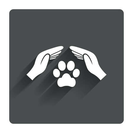 shelter: Protection of animals sign icon. Hands protect paw symbol. Shelter for dogs. Animals insurance. Gray flat square button with shadow. Modern UI website navigation. Vector