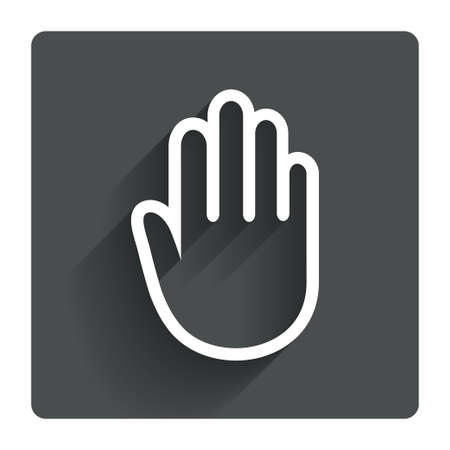 give me five: Hand sign icon. No Entry or stop symbol. Give me five. Gray flat square button with shadow. Modern UI website navigation. Vector Illustration