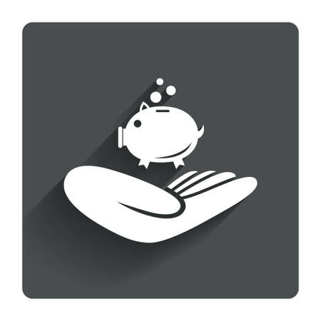 endowment: Donation hand sign icon. Hand holds Piggy bank. Charity or endowment symbol. Human helping hand palm. Gray flat square button with shadow. Modern UI website navigation. Vector