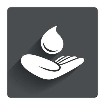 ahorrar agua: Guardar icono de la muestra de agua. La mano sostiene el s�mbolo de la gota de agua. S�mbolo de protecci�n del medio ambiente. Gris bot�n cuadrado plano con la sombra. Modern sitio web de la interfaz de usuario de navegaci�n. Vector