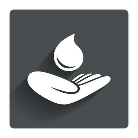 grey water: Save water sign icon. Hand holds water drop symbol. Environmental protection symbol. Gray flat square button with shadow. Modern UI website navigation. Vector