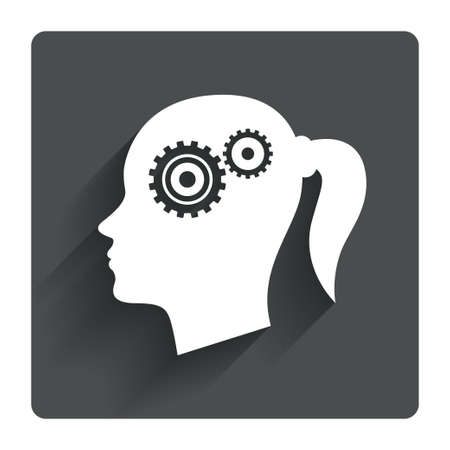 Head with gears sign icon. Female woman human head think symbol. Gray flat square button with shadow. Modern UI website navigation. Vector Vector