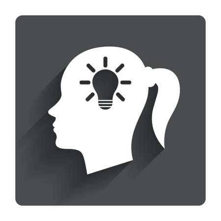 gray bulb: Head with lamp bulb sign icon. Female woman human head idea with pigtail symbol. Gray flat square button with shadow. Modern UI website navigation. Vector Illustration