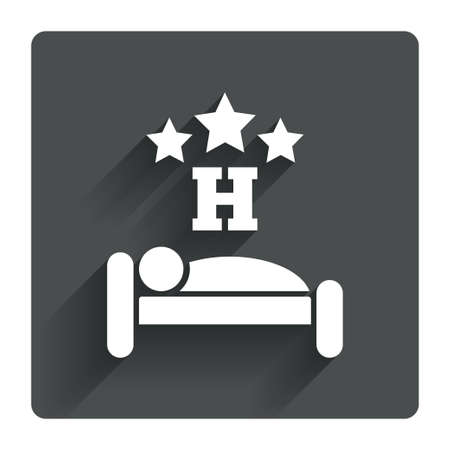 sleeper: Three star Hotel apartment sign icon. Travel rest place. Sleeper symbol. Gray flat square button with shadow. Modern UI website navigation. Vector Illustration