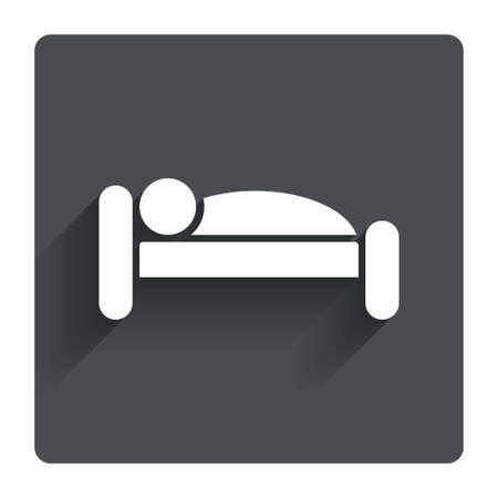 Human in bed sign icon. Travel rest place. Sleeper symbol. Gray flat square button with shadow. Modern UI website navigation. Vector