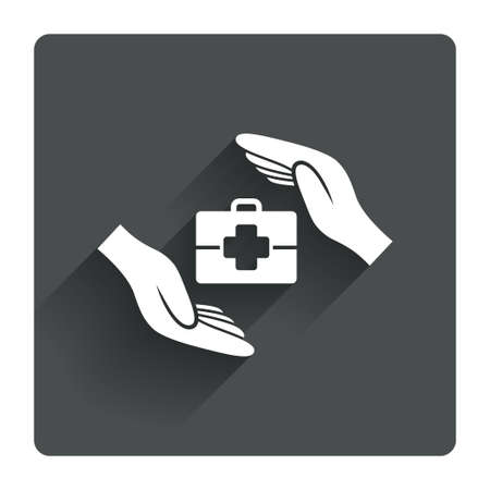 medical case: Medical insurance sign icon. Health insurance symbol. Doctor case. Gray flat square button with shadow. Modern UI website navigation. Vector