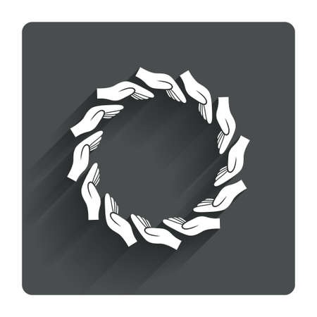 endowment: Donation hands circle sign icon. Charity or endowment symbol. Human helping hand palm. Gray flat square button with shadow. Modern UI website navigation. Vector