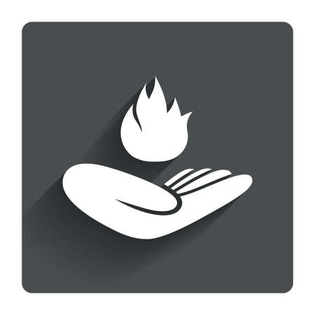 Insurance against fire sign icon. Hand holds fire flame symbol. Gray flat square button with shadow. Modern UI website navigation. Vector Vector