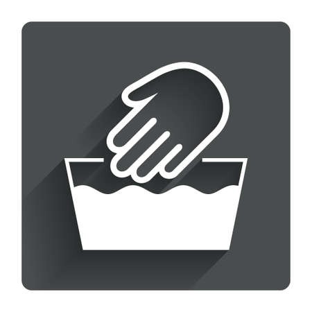 washable: Hand wash sign icon. Not machine washable symbol. Gray flat square button with shadow. Modern UI website navigation. Vector