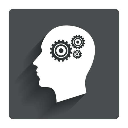 Head with gears sign icon. Male human head symbol. Gray flat square button with shadow. Modern UI website navigation. Vector Vector