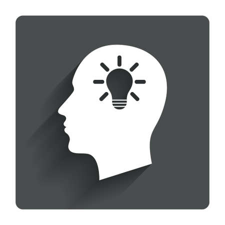 gray bulb: Head with lamp bulb sign icon. Male human head idea symbol. Gray flat square button with shadow. Modern UI website navigation. Vector
