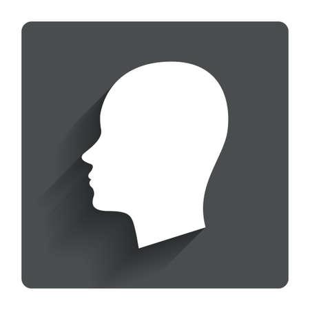 頭は記号アイコンです。女性人間の頭記号です。影を持つ灰色の平らな正方形ボタン。モダン UI web サイト ・ ナビゲーション。ベクトル