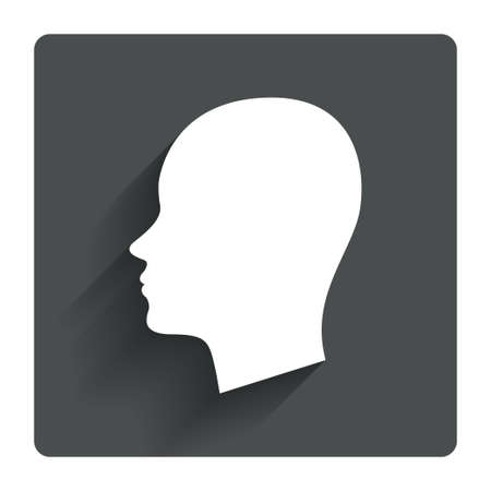 Head sign icon. Female woman human head symbol. Gray flat square button with shadow. Modern UI website navigation. Vector