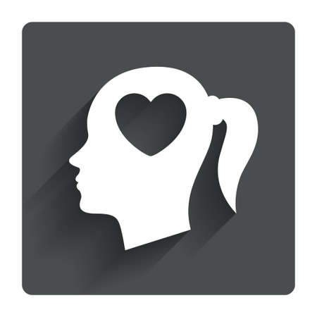 pigtail: Head with heart sign icon. Female woman human head in love with pigtail symbol. Gray flat square button with shadow. Modern UI website navigation. Vector