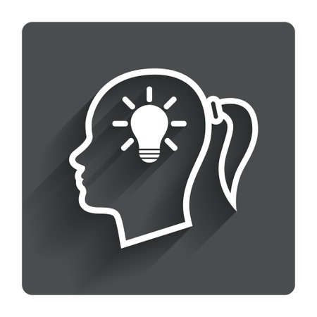 pigtail: Head with lamp bulb sign icon. Female woman human head idea with pigtail symbol. Gray flat square button with shadow. Modern UI website navigation. Vector Illustration