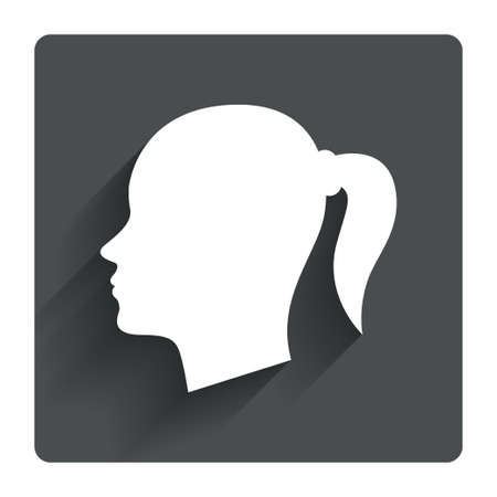 pigtail: Head sign icon. Female woman human head with pigtail symbol. Gray flat square button with shadow. Modern UI website navigation. Vector