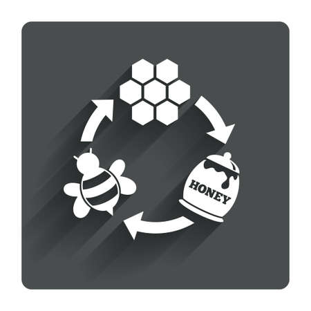 beeswax: Producing honey and beeswax sign icon. Honeycomb cells symbol. Honey in pot. Sweet natural food cycle in nature. Gray flat square button with shadow. Modern UI website navigation. Vector