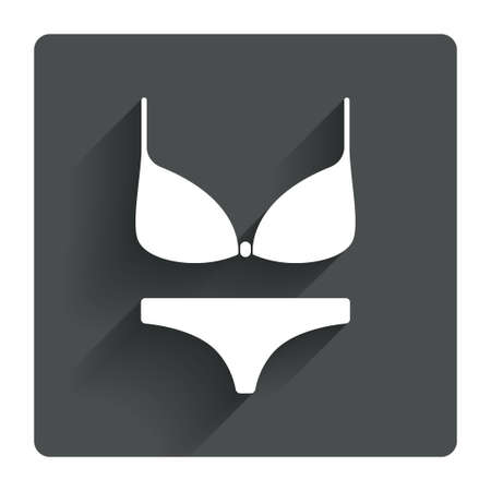 Women bra and panties sign icon. Intimates underwear symbol. Gray flat square button with shadow. Modern UI website navigation. Vector