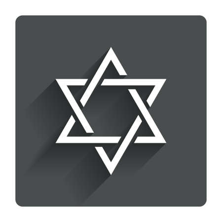 yiddish: Star of David sign icon. Symbol of Israel. Jewish hexagram symbol. Shield of David. Gray flat square button with shadow. Modern UI website navigation. Vector
