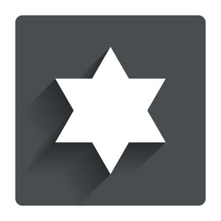 hexagram: Star of David sign icon. Symbol of Israel. Jewish hexagram symbol. Shield of David. Gray flat square button with shadow. Modern UI website navigation. Vector
