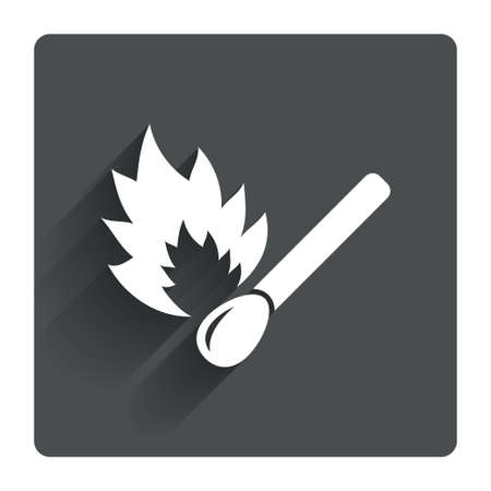 shadow match: Match stick burns icon. Burning matchstick sign. Fire symbol. Gray flat square button with shadow. Modern UI website navigation. Vector