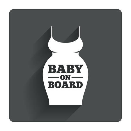 big breast: Pregnant woman dress sign icon. Baby on board. Maternity clothing symbol Gray flat square button with shadow. Modern UI website navigation. Vector Illustration