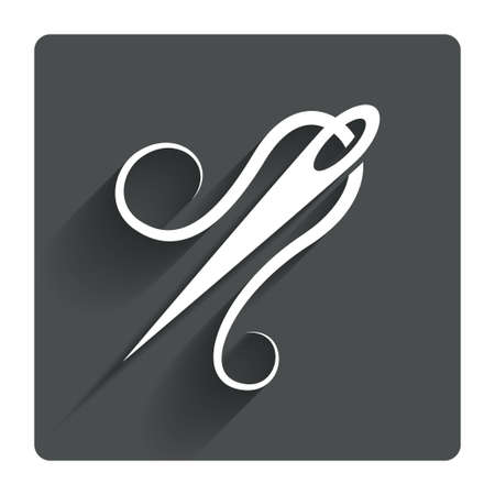 gray thread: Needle with thread icon. Tailor symbol. Textile sew up craft sign. Embroidery tool. Gray flat square button with shadow. Modern UI website navigation. Vector