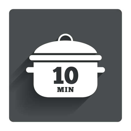 boil: Boil 10 minutes. Cooking pan sign icon. Stew food symbol. Gray flat square button with shadow. Modern UI website navigation. Vector
