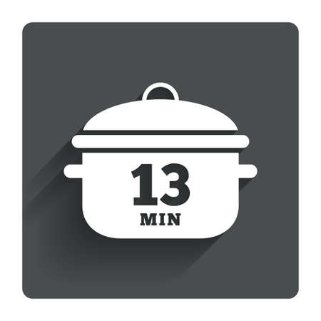 thirteen: Boil 13 minutes. Cooking pan sign icon. Stew food symbol. Gray flat square button with shadow. Modern UI website navigation. Vector