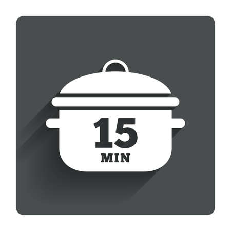 stew: Boil 15 minutes. Cooking pan sign icon. Stew food symbol. Gray flat square button with shadow. Modern UI website navigation. Vector