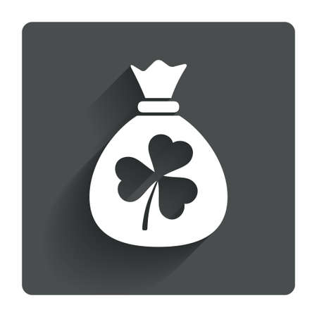 clover button: Money bag with three leaves clover sign icon. Saint Patrick trefoil shamrock symbol. Gray flat square button with shadow. Modern UI website navigation. Vector Illustration