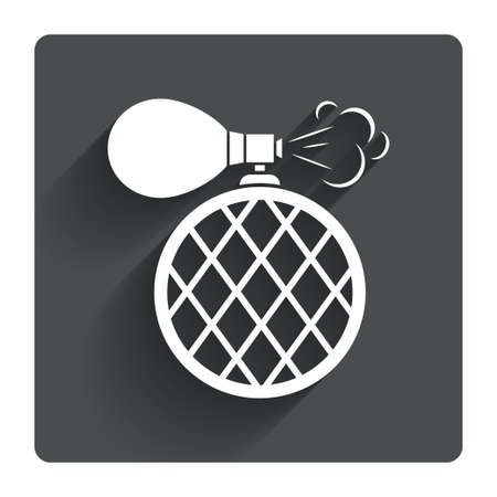 perfume: Perfume bottle sign icon. Glamour fragrance symbol. Gray flat square button with shadow. Modern UI website navigation. Vector