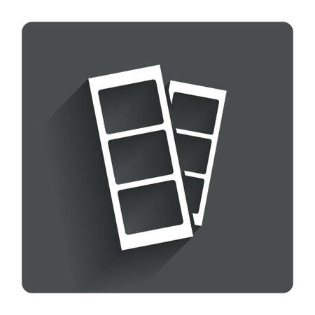 Photo booth strips sign icon. Photo frame template symbol. Gray flat square button with shadow. Modern UI website navigation. Vector Illustration